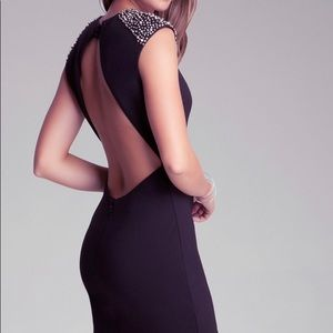 Bebe Payton Dress Open Back Embellished Shoulders